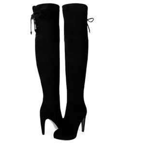 Sam Edelman Suede 8.5 Black Over the Knee Boots